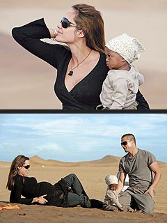 Brad Pitt and Angelina Jolie are kicking it in the Namib desert, toddler style