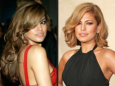 Eva Mendes in twice different ways of hairstyles