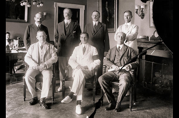 The Federal Reserve Board, 1914  The seven original members of the FRB sit for a group portrait, shortly after being sworn in. They include the first