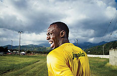Usain Bolt at the track where he trains in Kingston, Jamaica