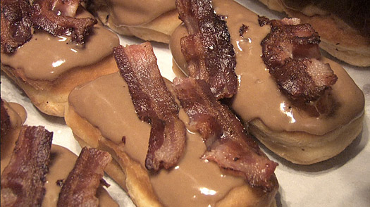 **FILE** In this April 12, 2008 file photo made from video, a Bacon Maple Bar is shown at Voodoo Doughnut in Portland, Ore. (AP Photo/Rick Bowmer, File)