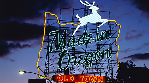 "Illuminated letters ""Made In Oregon"" --- Image by © Klaus Hackenberg/Corbis"