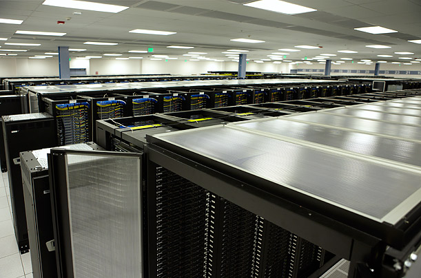 The data center holds tens of thousands of servers.