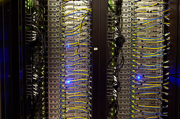A close up of the servers in two racks. 