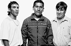 Chilean miners (l to R) Claudio Ya&ntilde;aez, Carlos Mamani, Osman Avaya