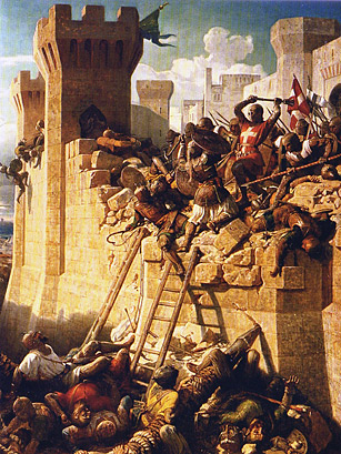 The Hospitalier grand master Guillaume de Villiers or Guillaume de Clermont defending the walls of Acre, Galilee, 1291, by Dominique-Louis Papety (1815to1849) at Versailles.