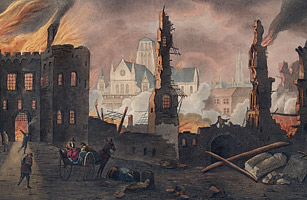 Top 10 End of the World Prophecies 1807, London, United Kingdom --- A print of the Great Fire of London showing the ruins of a wall near Ludgate prison
