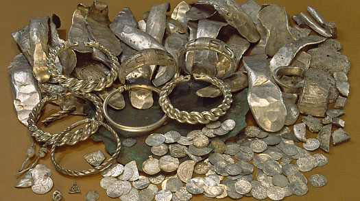 The burger hoard (Burge, Lummelunda parish, Gotland province, Sweden) found in 1967. 2959 Roman, Sasanian, Islamic, Byzantine and West European silver coins, in addition to a great number of Russian silver bars
