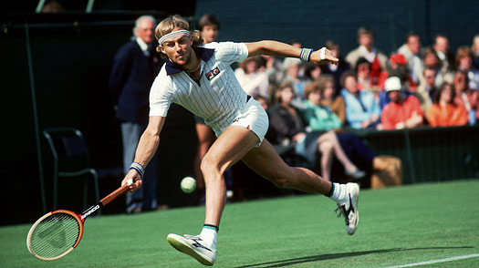 Bjorn Borg of Sweden in action during the Wimbledon Lawn Tennis Championship 1981 held at the All England Lawn Tennis and Croquet Club, in London