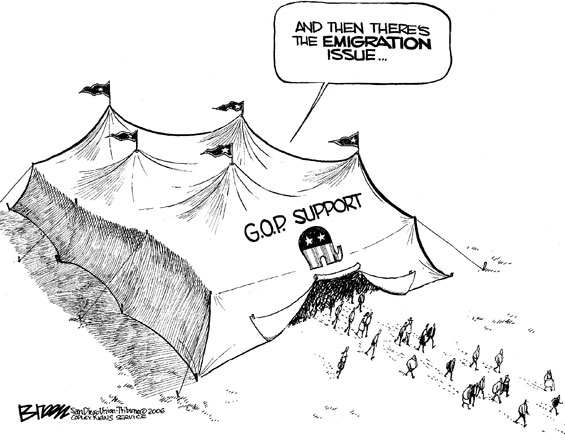 republican big tent political cartoon