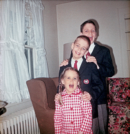 Coulter with her older brothers Jim and John in 1965