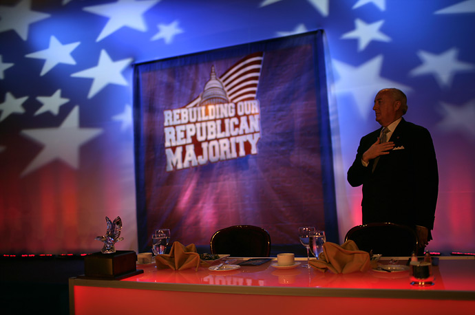 The Pledge of Allegiance at the National Republican Congressional Committee Dinner in Washington March 15, 2007.