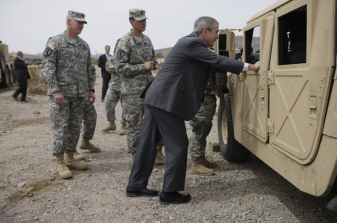 President Bush visits with soldiers at the Army National Training Center at Fort Irwin, California.
