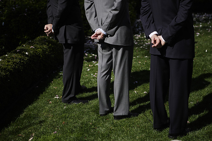 Senior White House aides listen while the President makes a statement about the war in Iraq, April 3, 2007.