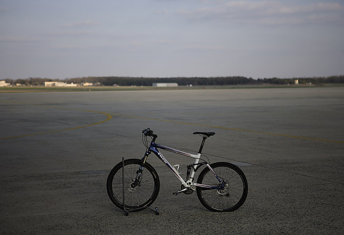 President Bush's Trek bicycle on the tarmac of Andrews Air Force Base.