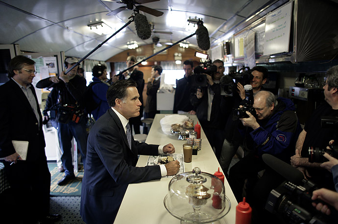 Republican presidential candidate Mitt Romney campaigns at the Peterborough Diner in Peterborough, New Hampshire, April 3, 2007.