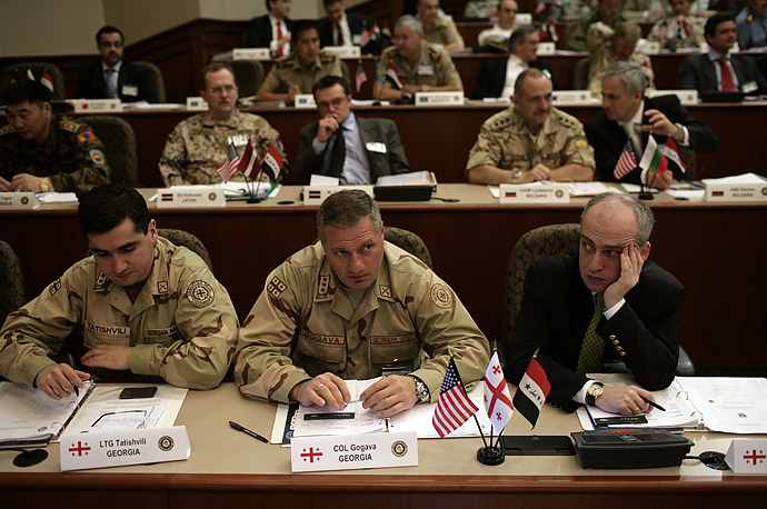 Military leaders from coalition partner countries in the Iraq War wait for  President Bush to speak at MacDill Air Force Base in Tampa, Florida, May 1, 2007.