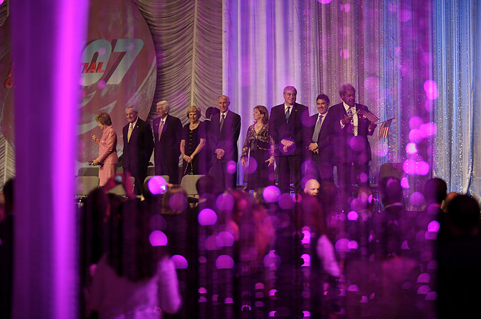 Contributors wait to see President Bush at the Republican National Committee Presidential Gala fundraiser, May 10, 2007, in Washington, D.C.