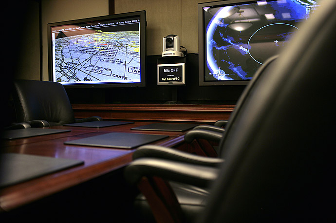 Inside the newly renovated Situation Room of the White House.