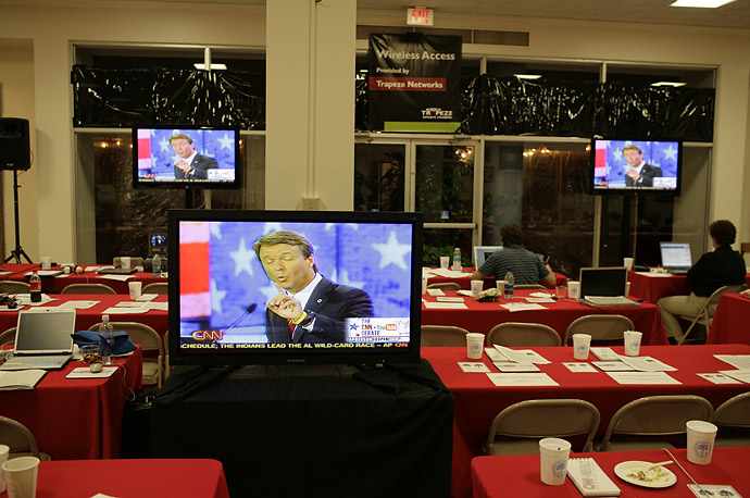 Democratic presidential candidate John Edwards appears on a monitor in the press room at the CNN / Youtube debate on July 23, 2007.
