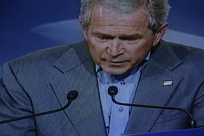 President Bush speaks during joint press conference, at the Security and Prosperity Partnership summit in Montebello, Quebec.
