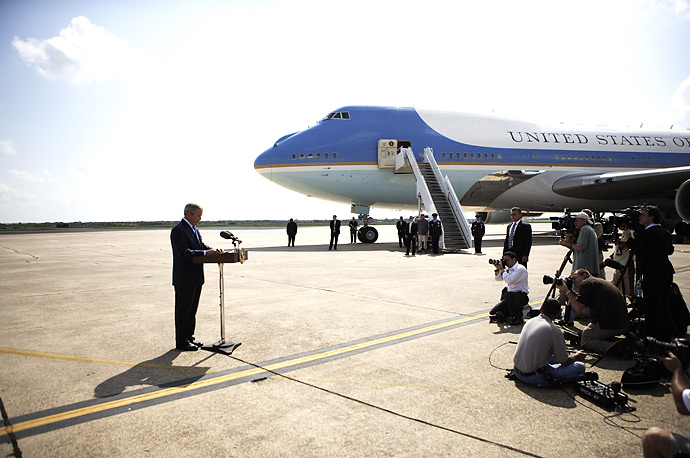 President George W. Bush comments on the resignation of Attorney General Alberto Gonzales August 27, 2007, on the tarmac of the Texas State Technical College Airport in Waco, Texas.