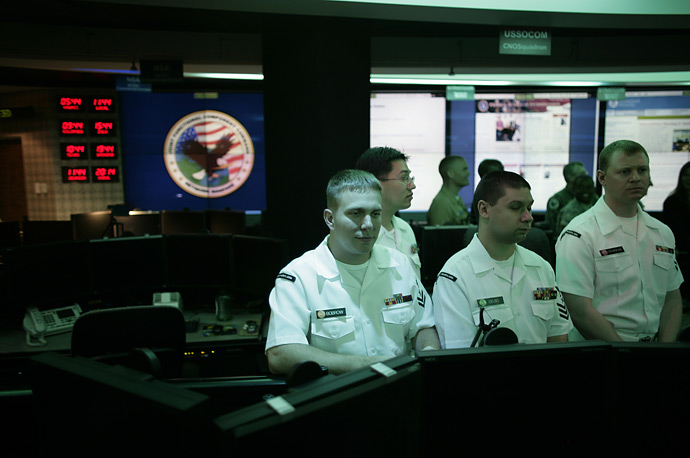 Employees inside the National Threat Operations Center at the National Security Agency during a presidential visit to  Fort Meade, Maryland September 19, 2007.