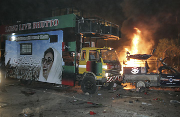 The convoy of former Pakistan prime minister Benazir Bhutto was attacked in Karachi, Thursday, October 18, 2007. Two explosions went off near the vehicle carrying former Pakistan premier Benazir Bhutto, killing or wounding dozens of people.