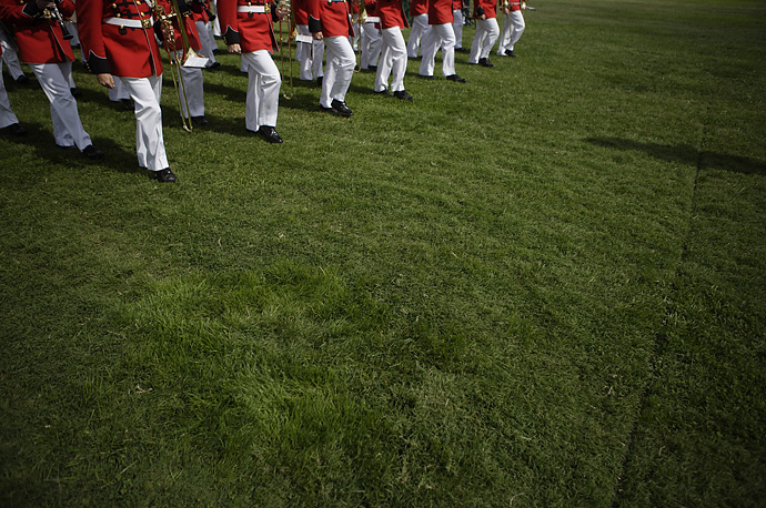 The US Marine Corps Band plays during the retirement ceremony for Chairman of the Joint Chiefs of Staff, General Peter Pace, at Fort Myer, Virginia, October 1, 2007.
