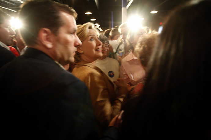 Senator Hillary Rodham Clinton campaigns at the Gigglin' Goat Restaurant in Boone, Iowa.