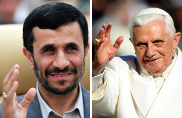 Iranian President Mahmoud Ahmadinejad, left, and Pope Benedict XVI