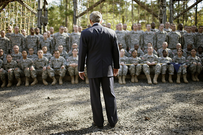 President George W Bush greets U.S. Army personnel at the Fit To Win Course at Fort Jackson in South Carolina November 2, 2007.
