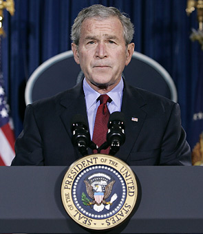 U.S. President George W. Bush speaks about the death of Pakistani opposition leader Benazir Bhutto at his ranch in Crawford, Texas, December 27, 2007.