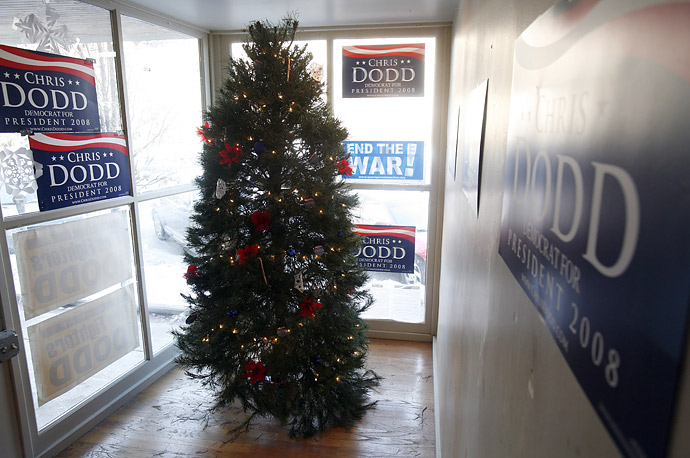 A Christmas tree is on display by the front window of Democratic presidential candidate Chris Dodd's office in  Davenport, Iowa.
