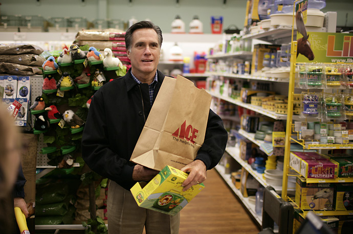 Republican presidential candidate Mitt Romney visits a hardware store during a campaign stop in Goffstown, New Hampshire.