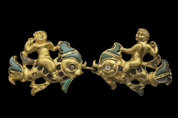 A pair of clasps, Cupids on a dolphin