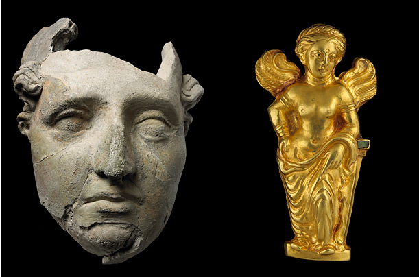 Left: Male or female face, unfired clay. Right: Gold statue