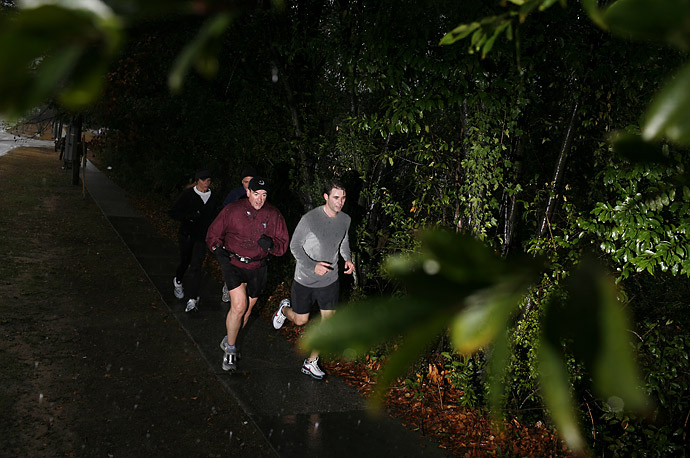 Republican presidential candidate Mike Huckabee jogs on Saturday, January 19, in South Carolina, as voting in the state's primary was well under way.