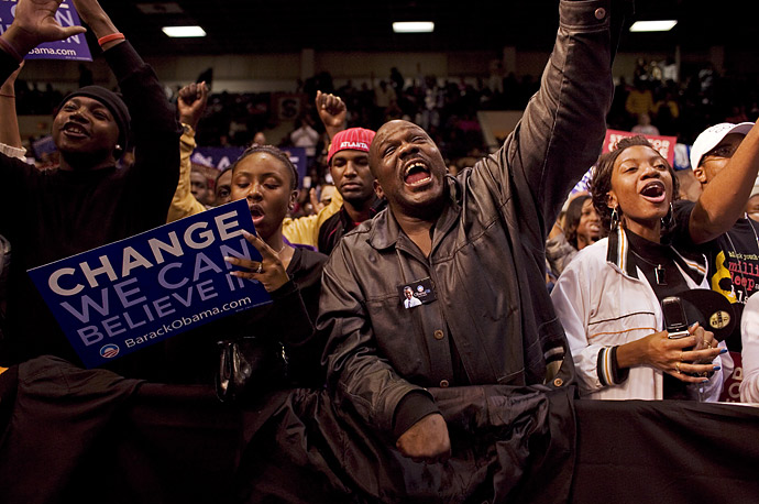 Supporters celebrate at a Barack Obama rally in Orangeburg, South Carolina.
