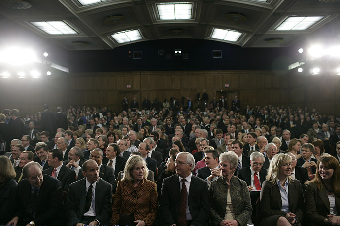 The audience watches the ceremonial swearing-in of Agriculture Secretary Ed Schafer at the Agriculture Department in Washington.
