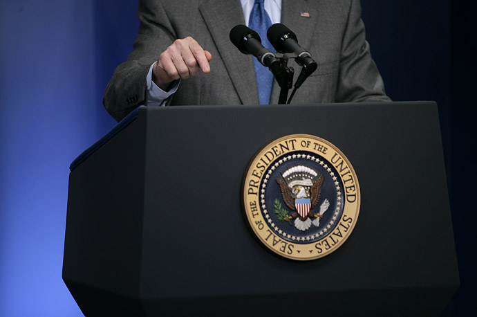 The President speaks at a press conference at the White House