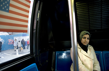 Shireen Khan rides a bus in New York City