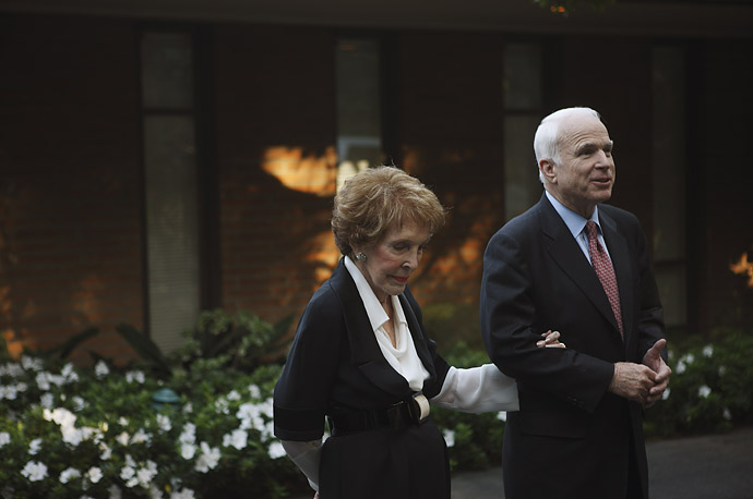 Former First Lady Nancy Reagan gave John McCain her endorsement on March 25, 2008