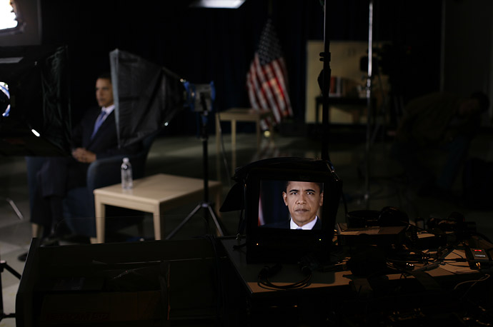 Barack Obama sits for a television interview in a classroom at Westerville Central High School in Westerville, OH.