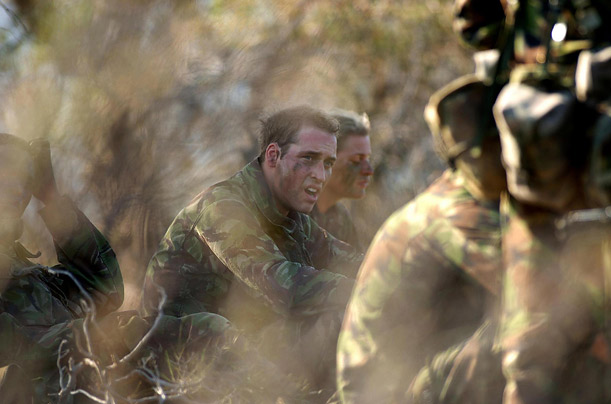Prince William taking part in an army exercise as part of his training in the British Army