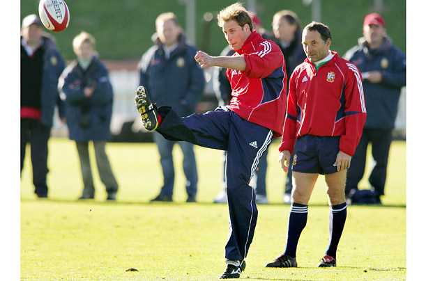 Prince William playing rugby with the British and Irish Lions team