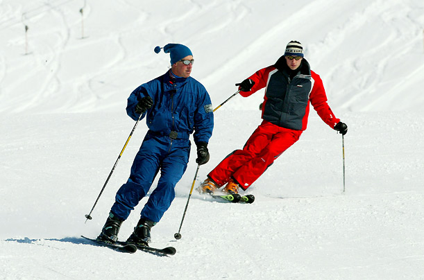 On the slopes in Klosters, Switzerland, with his father Prince Charles