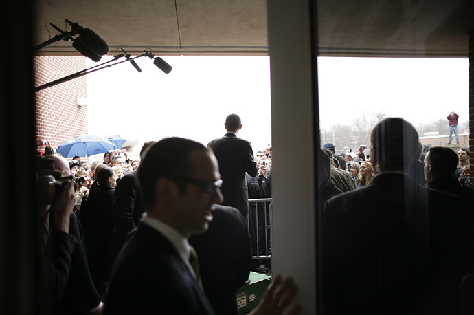 Barack Obama greets an overflow crowd outside a town hall meeting at Thaddeus Stevens College of Technology in Lancaster, Pennsylvania.