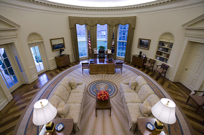A quiet moment in the Oval Office.