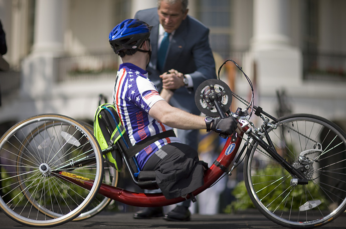 President Bush greets members of Wounded Warrior Soldier Ride on the South Lawn of the White House in Washington.